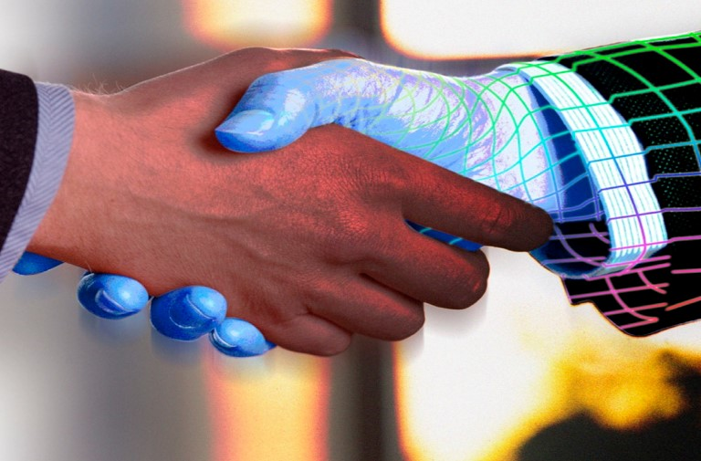 two men shaking hands to show the concept of merging online and physical business