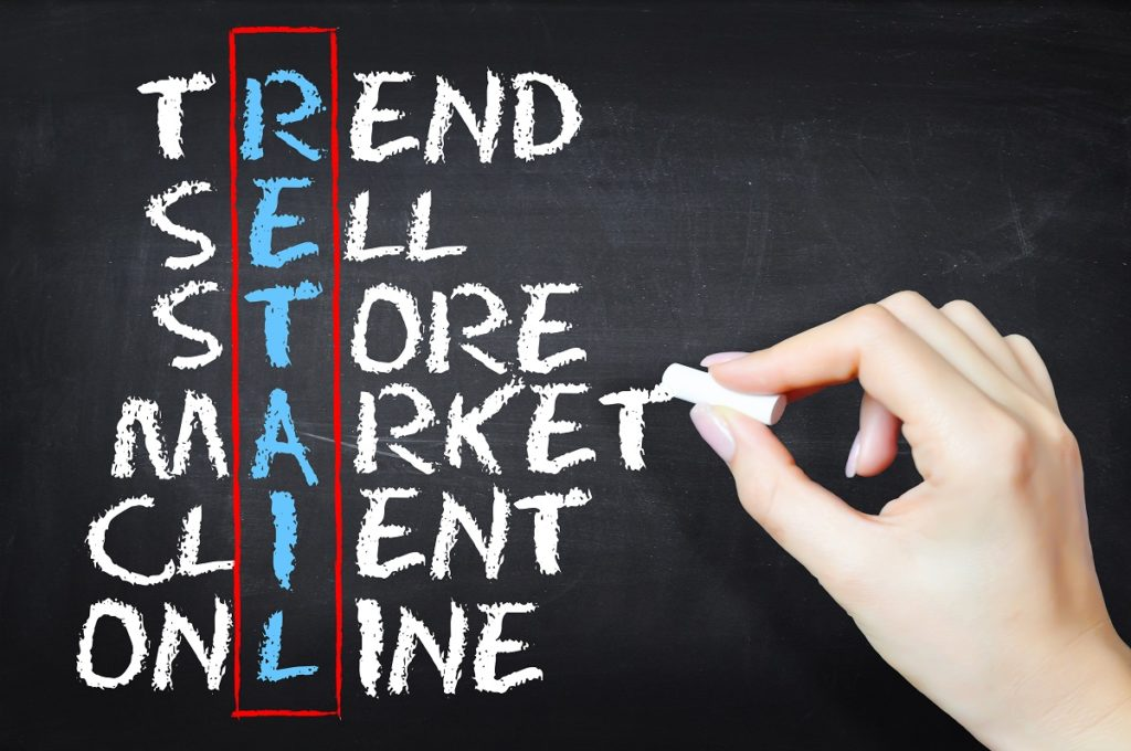 Retail related words written on a chalkboard that are relevant for retail management software, such as sell, market, and online.
