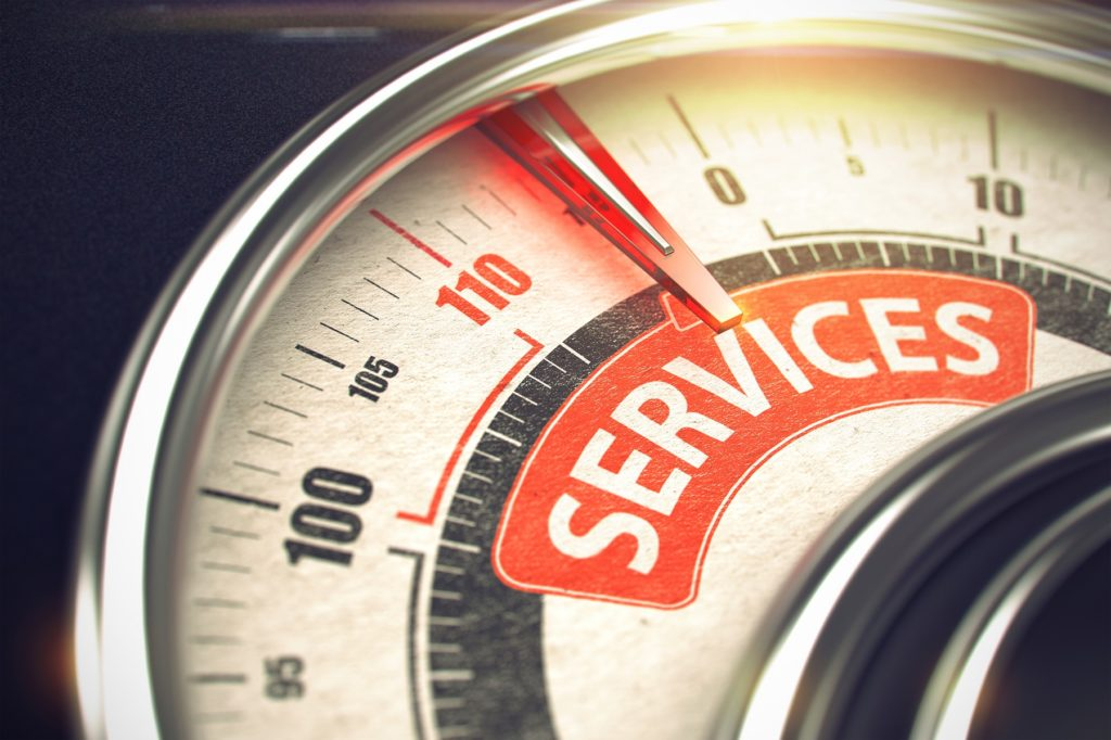 3D Illustration of a Manometer with Red Needle Pointing the Message Services conceptualizing the need for value-added resellers to expand their services.