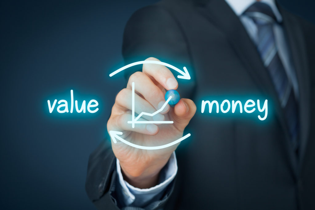 Businessman draw scheme symbolize value for money process when moving from price competition to value selling.