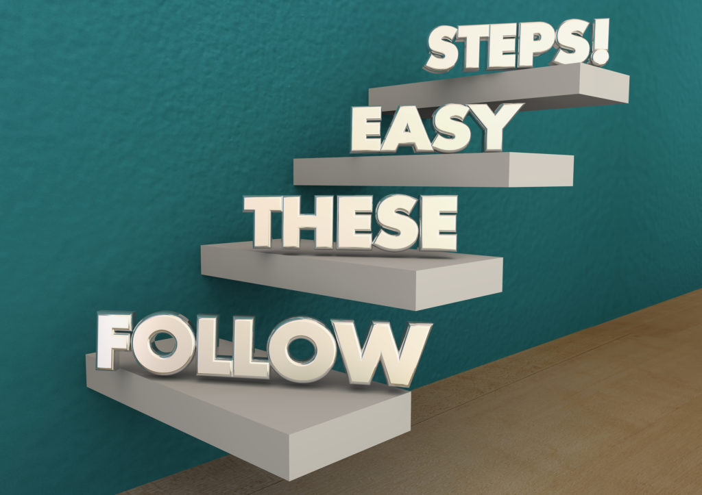 A 3D illustration of stairs against a wall with words on each step that read Follow These Easy Steps, illustrating what the reader can expect when selling POS systems.